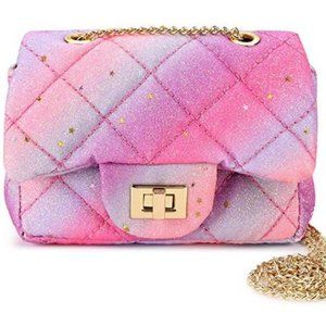 New Sparkly Unicorn Quilted Girls Purse Crossbodys